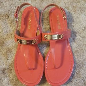 Coach Caterine Sandals - Patent Leather - Coral